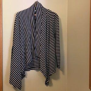 Lily White Black and White asymmetrical cardigan